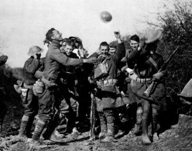 Soldiers celebrating World War I Armisti