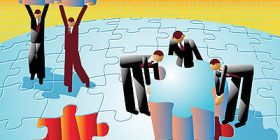 Businessmen Assembling Earth Puzzle --- Image by © Images.com/Corbis
